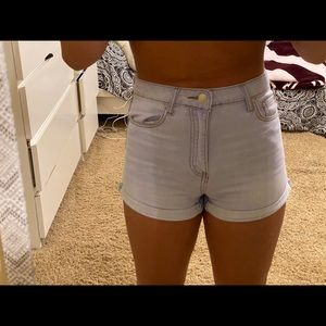 High waisted light wash jeans shorts